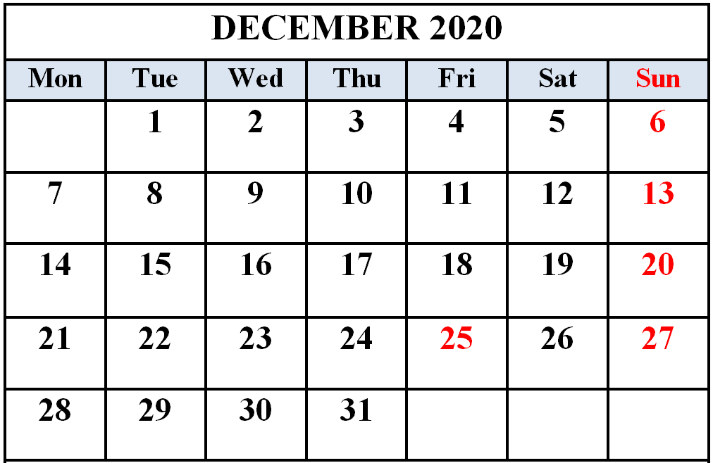 Editable December 2020 Calendar Template Word