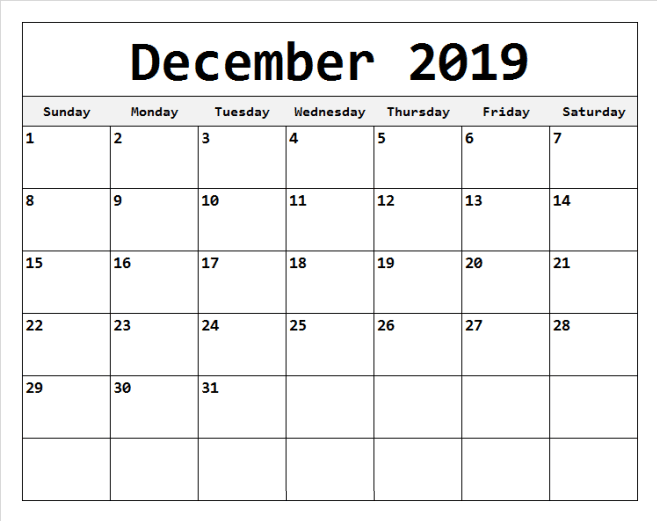 Editable December Calendar 2019 Printable