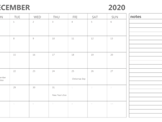 Editable December Calendar 2020 with Notes