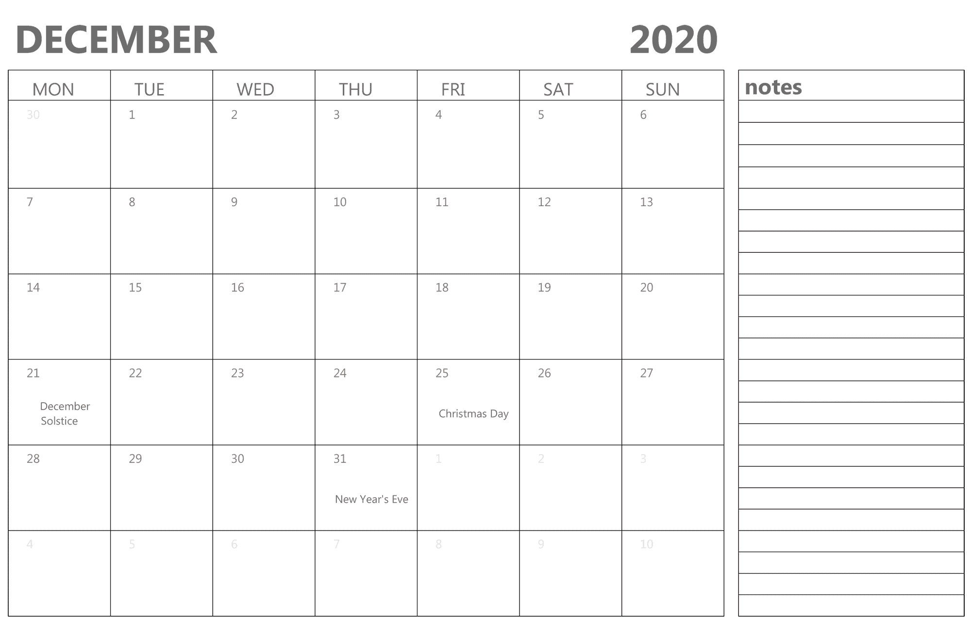 Editable December Calendar 2020 with Notes