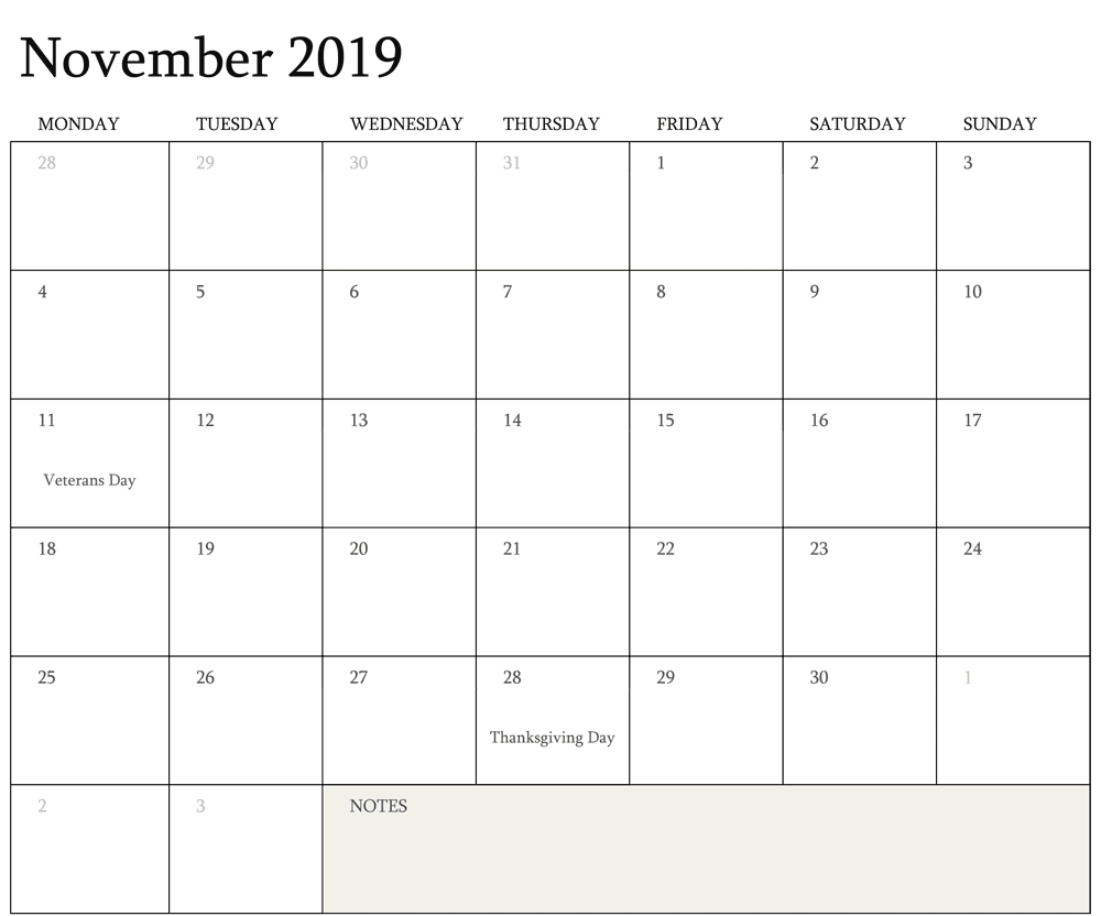 Editable Holidays Calendar for November 2019