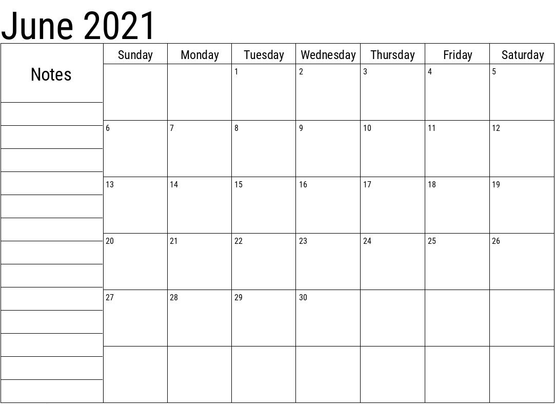 Editable June 2021 Calendar Free Download