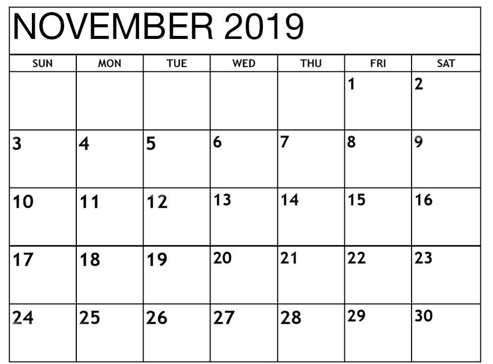 Editable November 2019 Calendar Printable