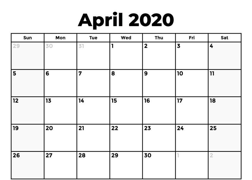 Fillable April 2020 Holidays Calendar PDF