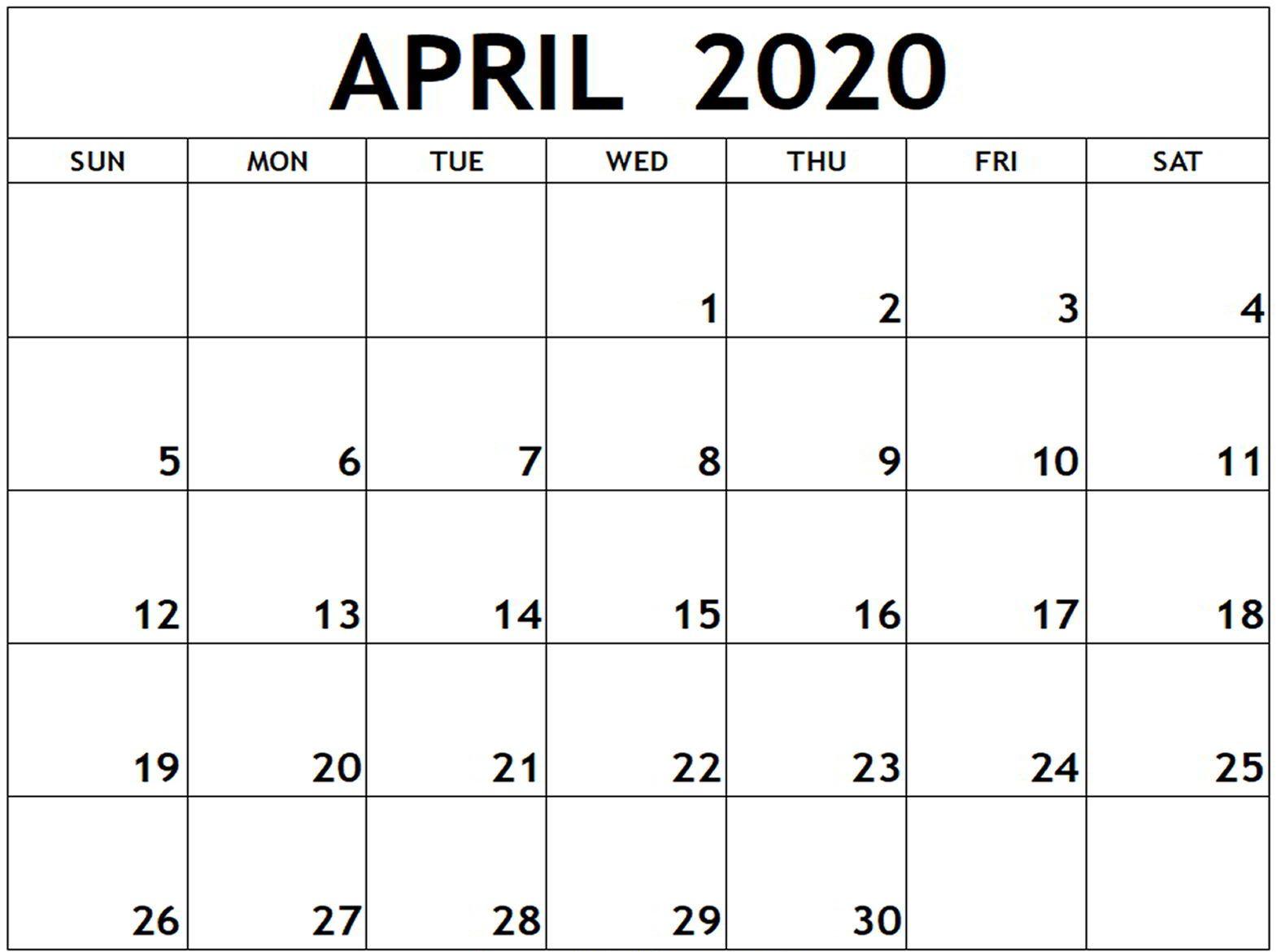 Fillable April 2020 Printable Calendar