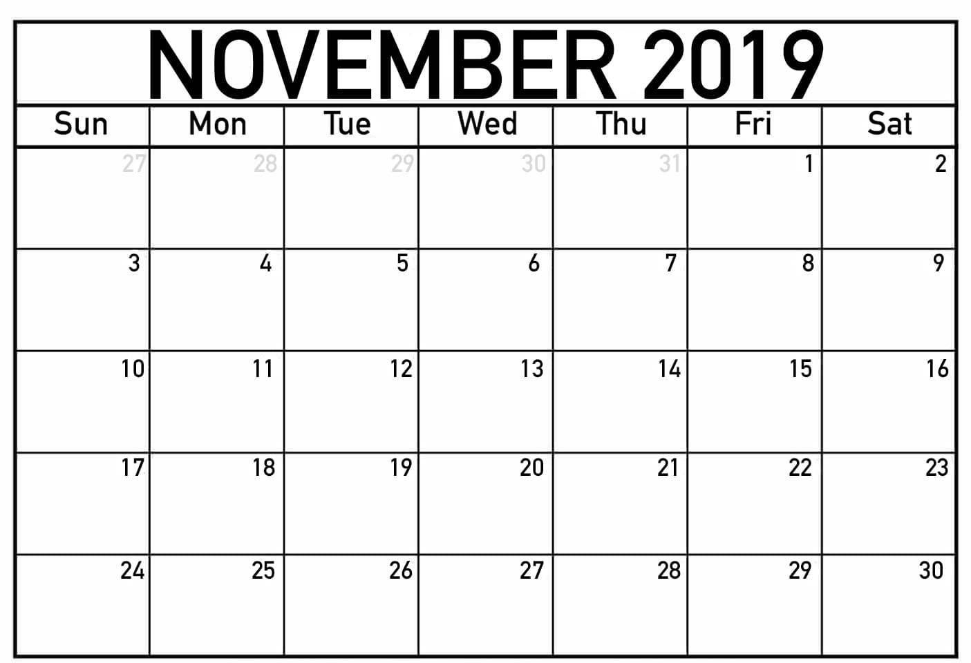 Fillable Calendar for November 2019 Printable