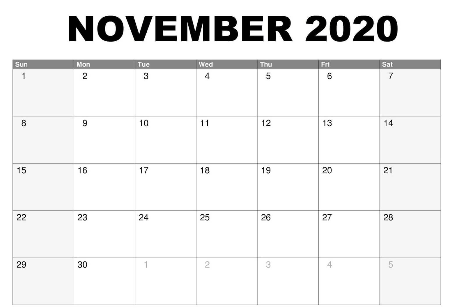 Fillable November 2020 Calendar Template
