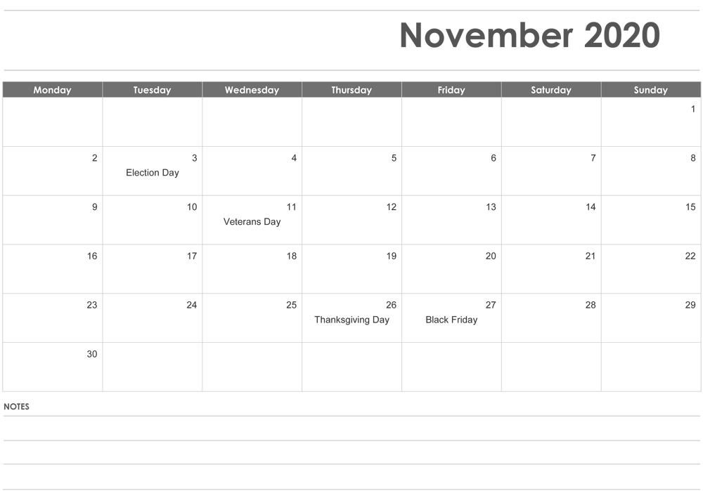 Fillable November 2020 Calendar with Notes