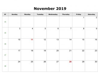 Fillable November Calendar 2019 with Notes