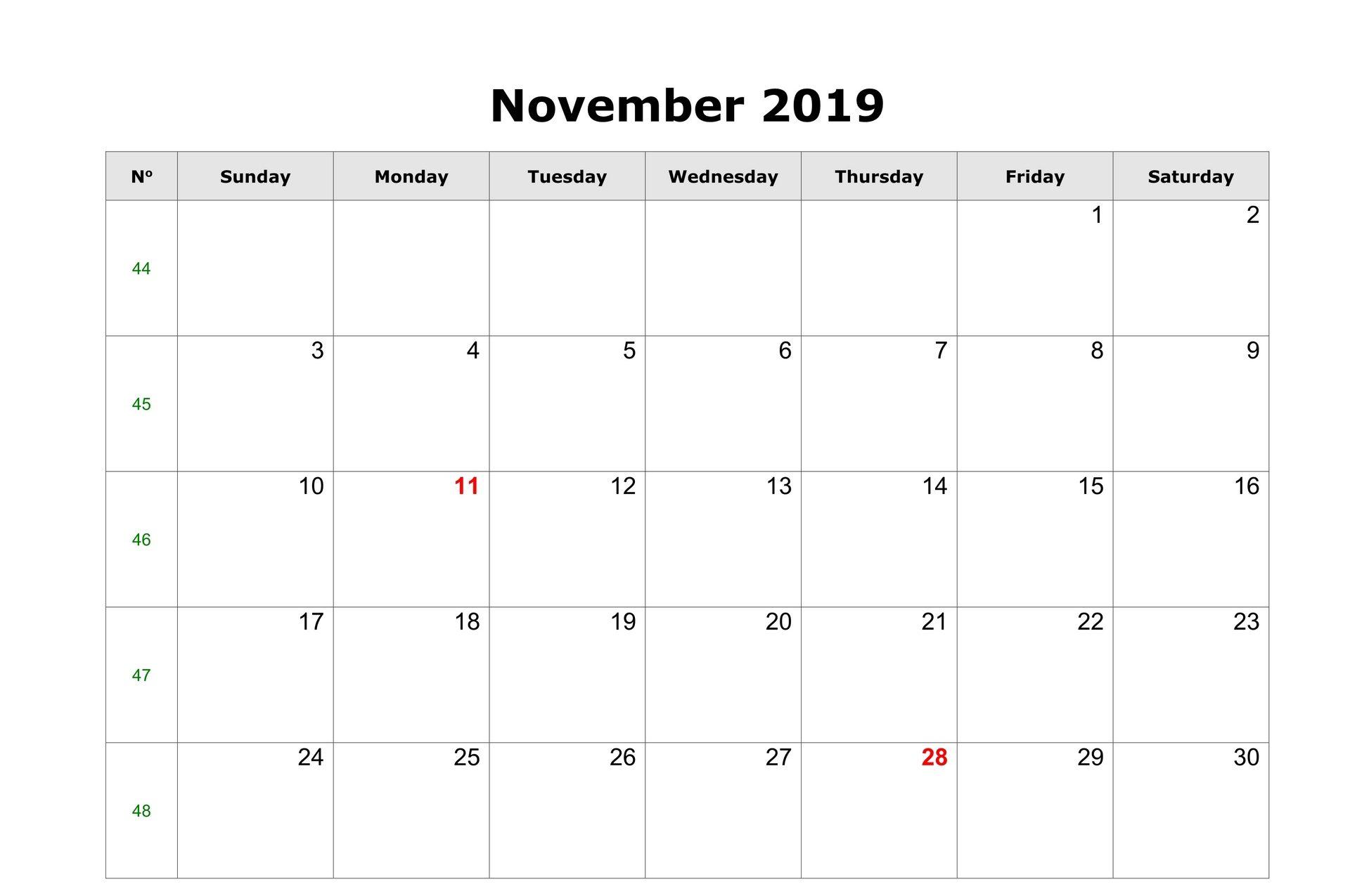 Fillable November Calendar 2019 with Notes