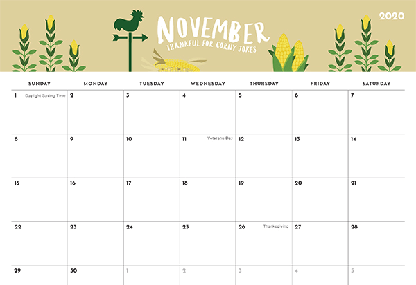 Floral November Calendar 2020