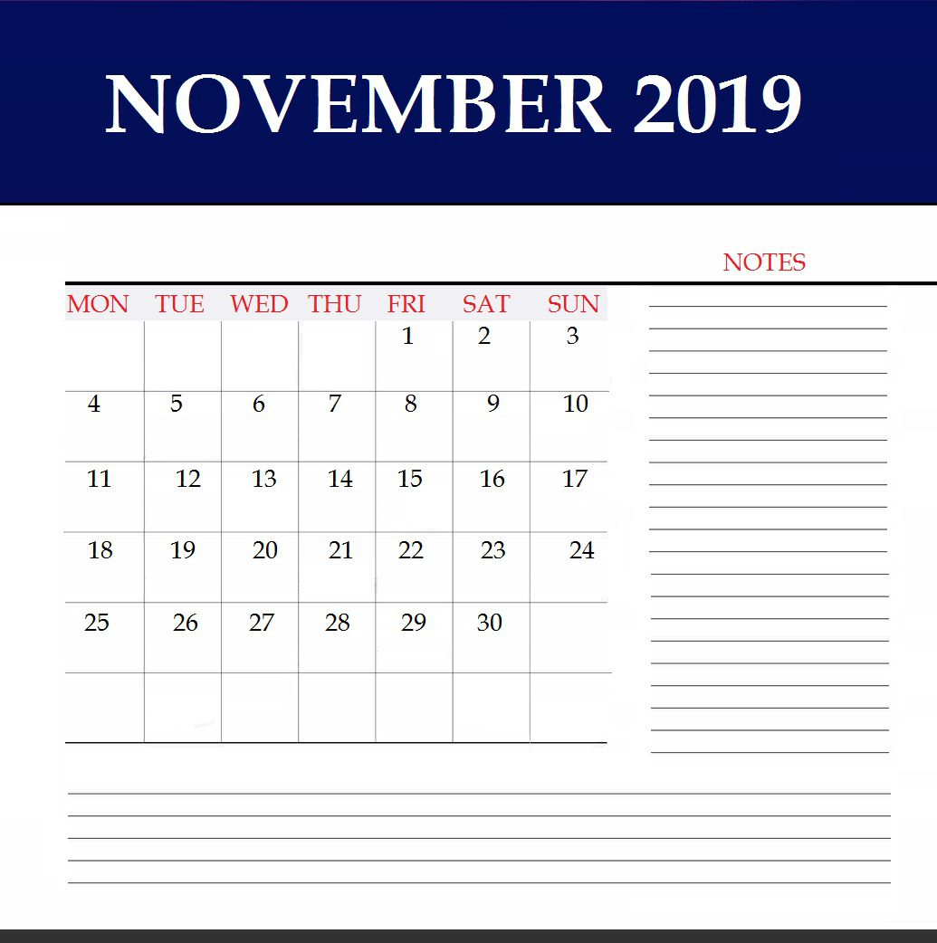Free November 2019 Wall Template