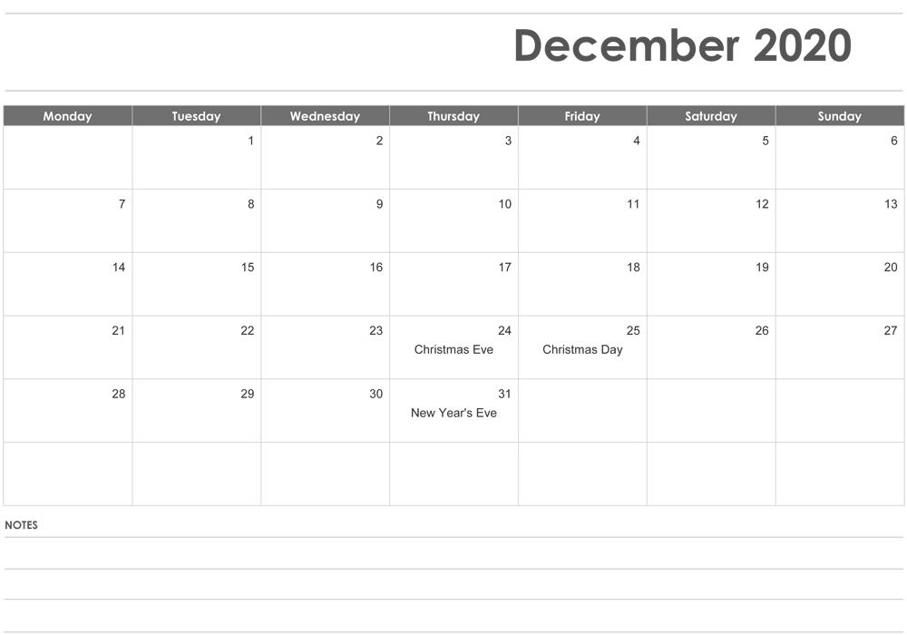 Free Printable Editable December Calendar 2020