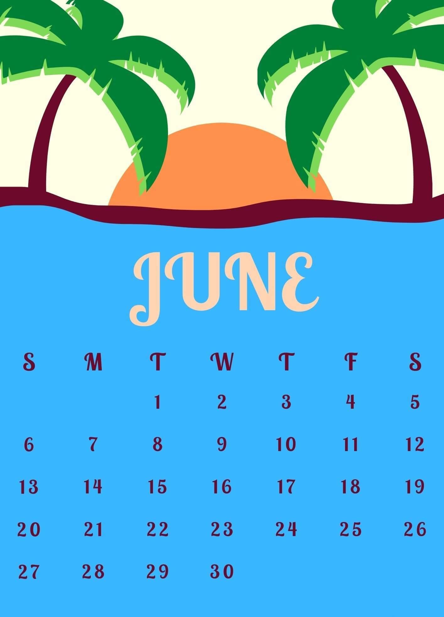 June 2021 Calendar For iPhone