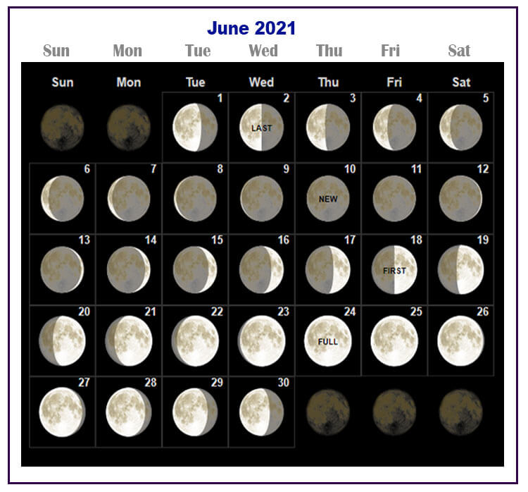 June 2021 Moon Phases Calendar