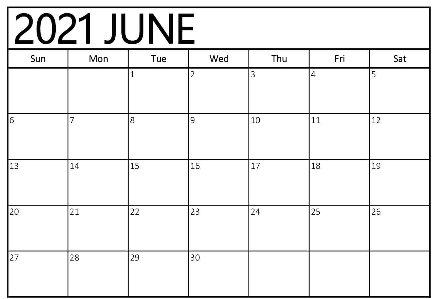 June Blank Calendar 2021