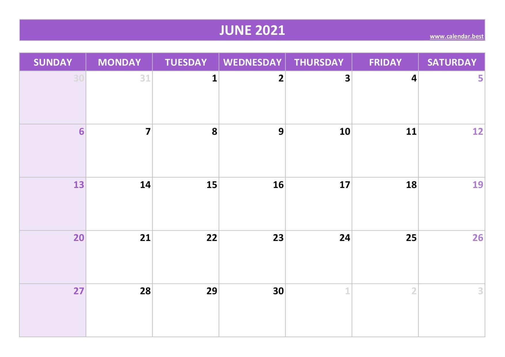 June Calendar 2021 Excel