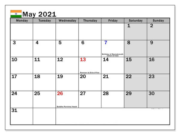 May 2021 Calendar with Holidays India