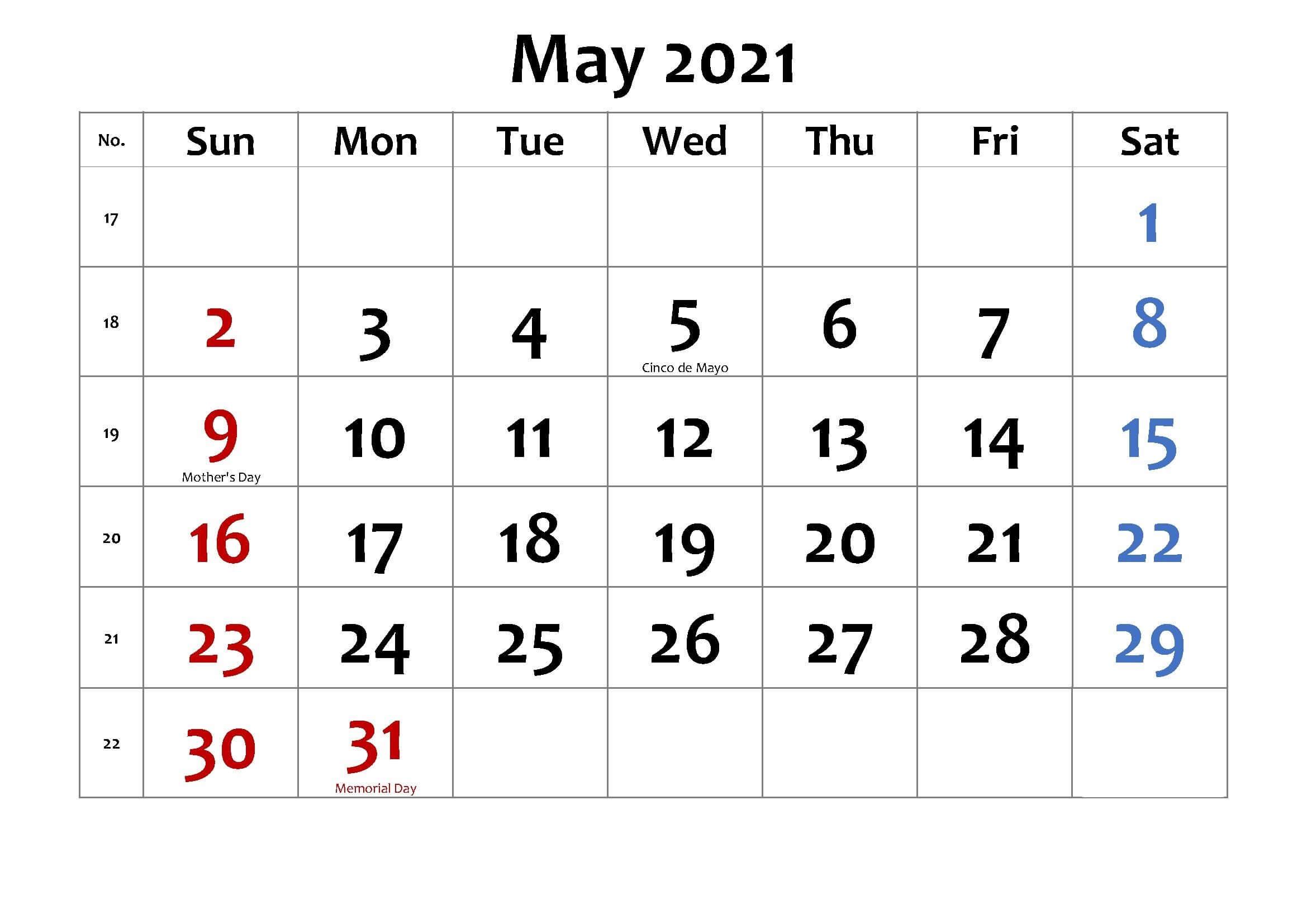 May 2021 Holidays Calendar