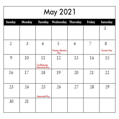 May 2021 Public Holidays Calendar