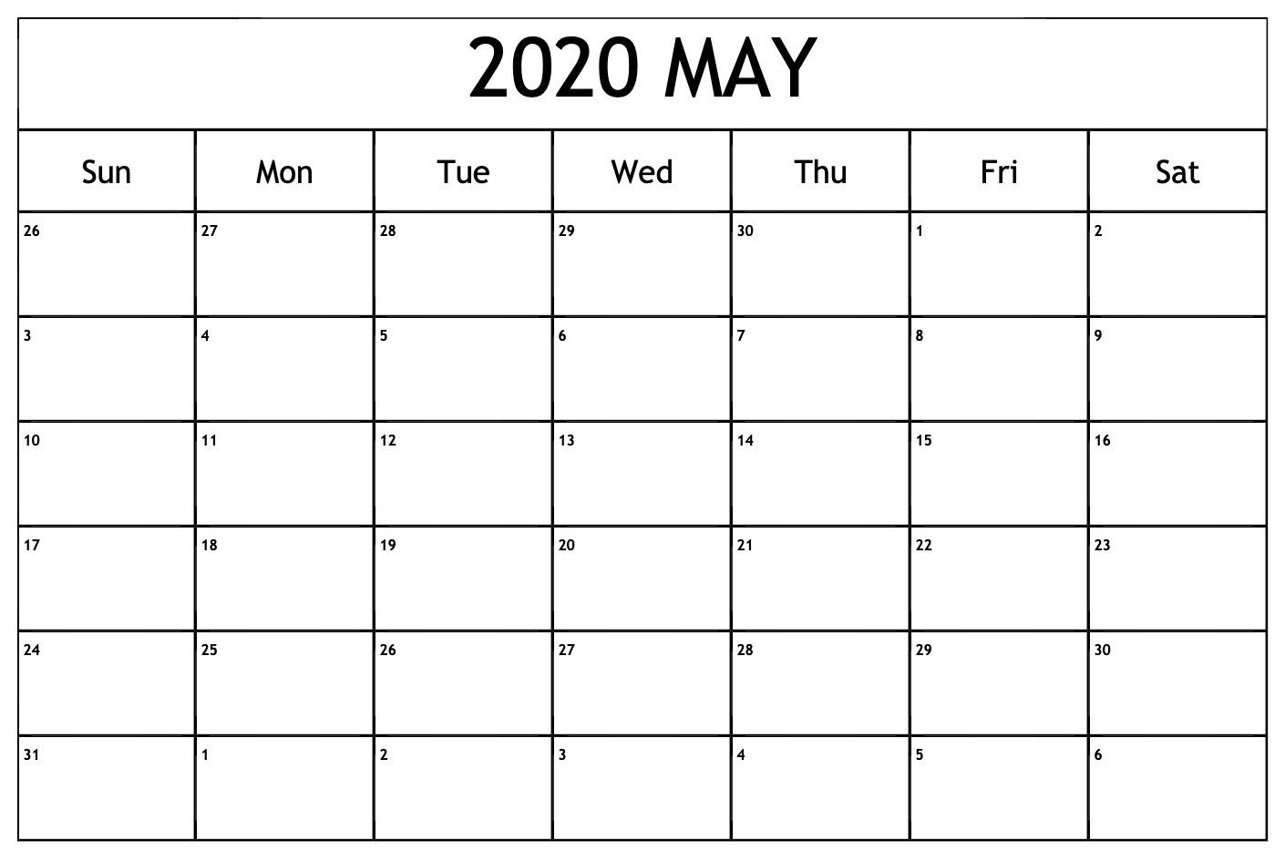 May Calendar 2020 Excel