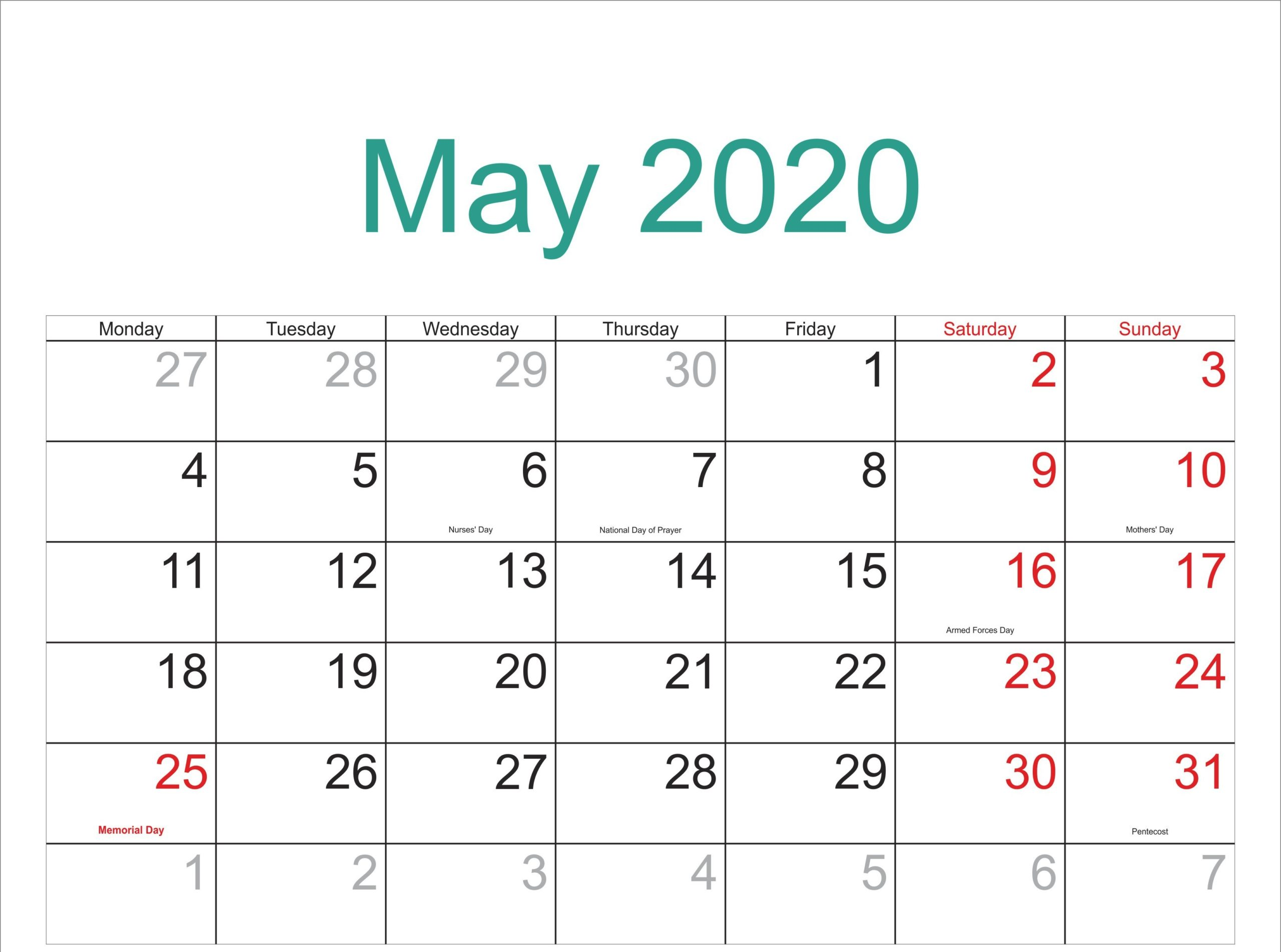 May Calendar 2020 Monthly Printable Template