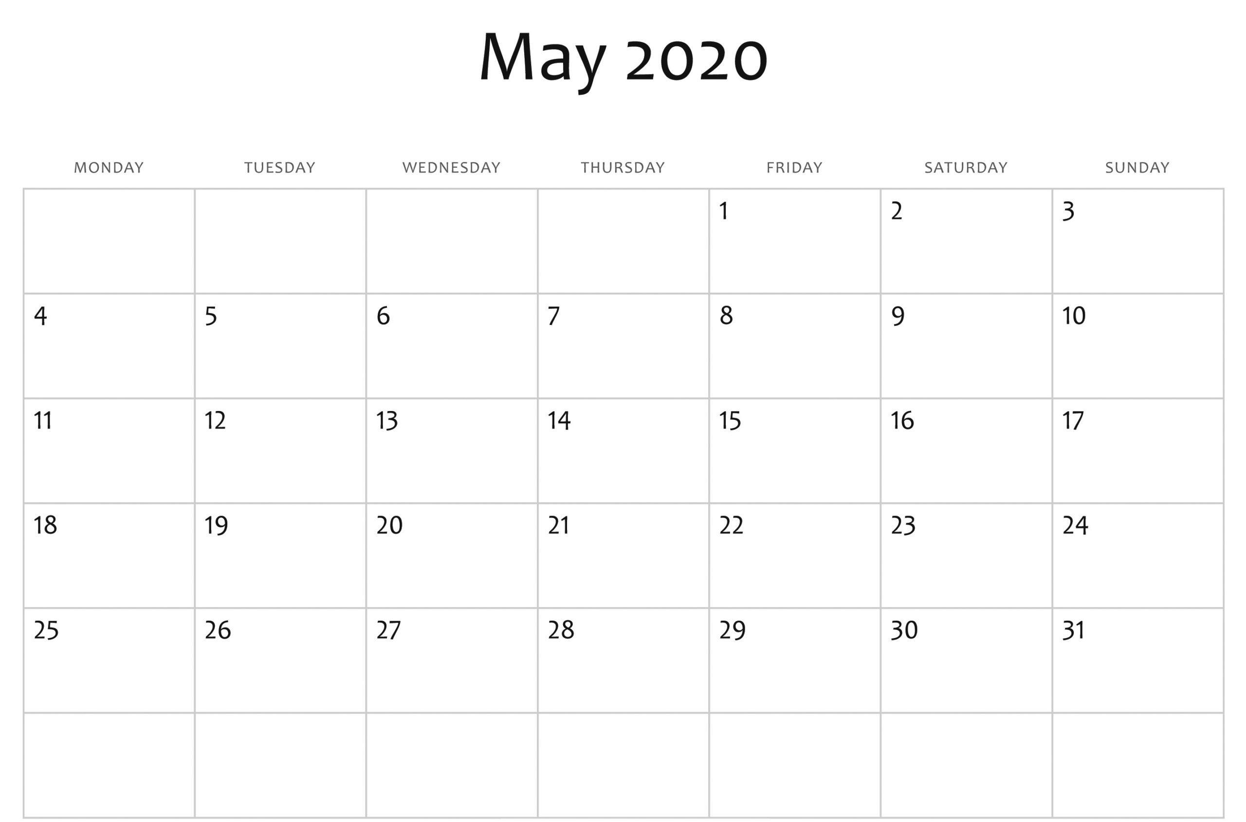 May Calendar 2020 PDF
