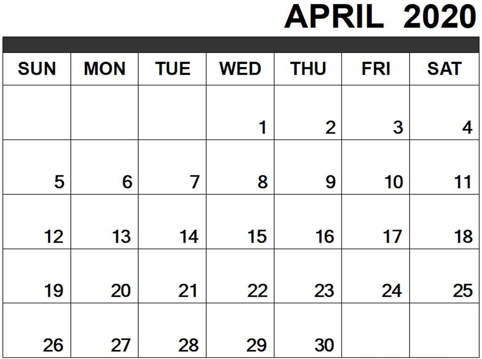 Monthly Fillable April 2020 Printable Calendar Template