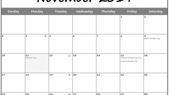 Moon Phases Calendar for November 2019 Holidays