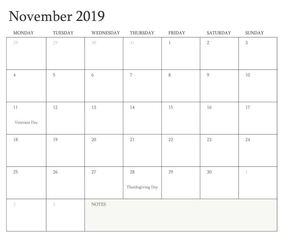 November 2019 Calendar Moon Phases
