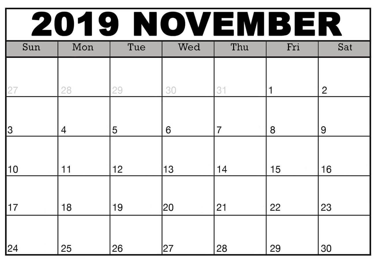 November 2019 Monthly Calendar Blank Template