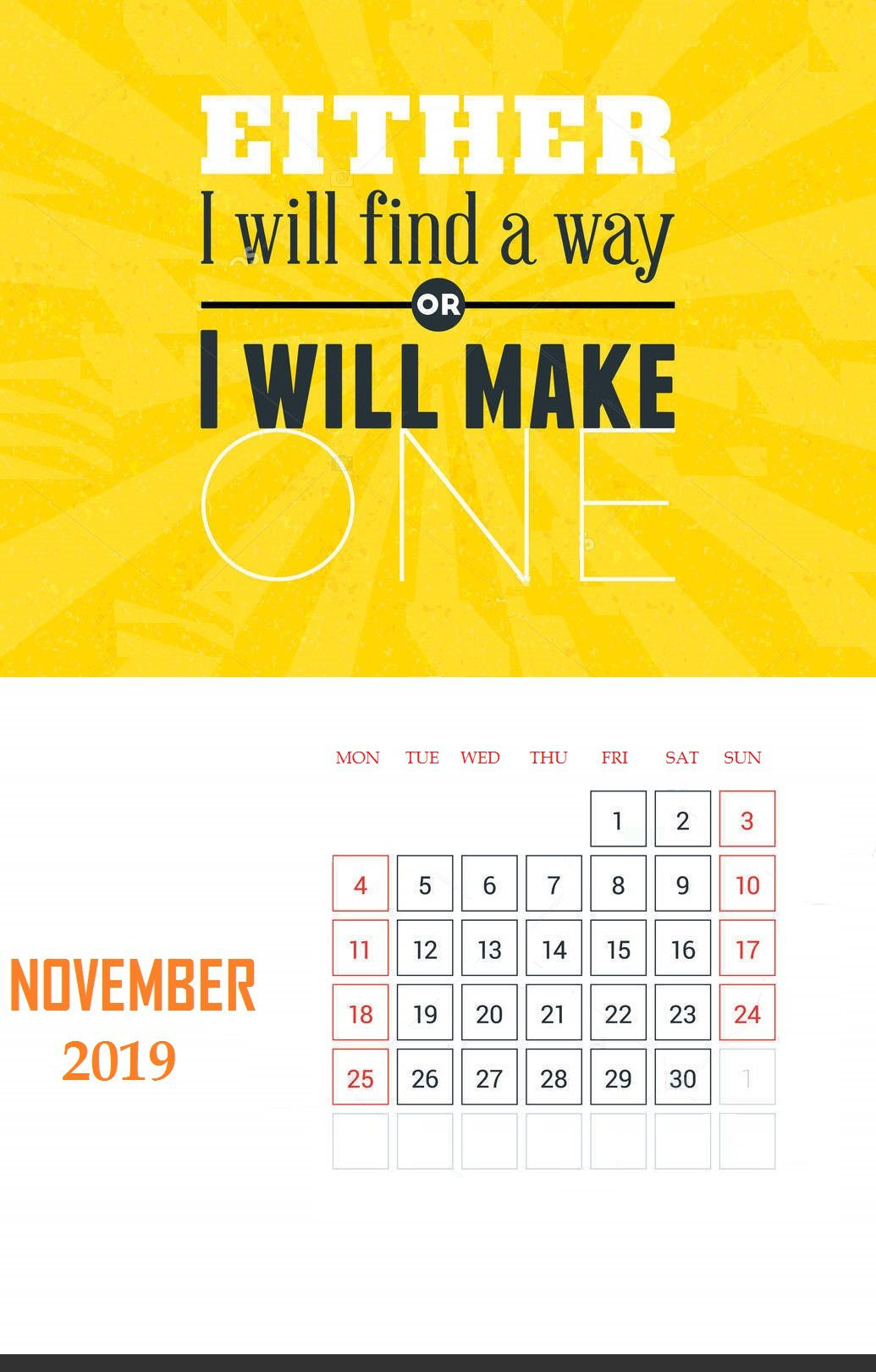 November 2019 Wall Calendar With Quotes