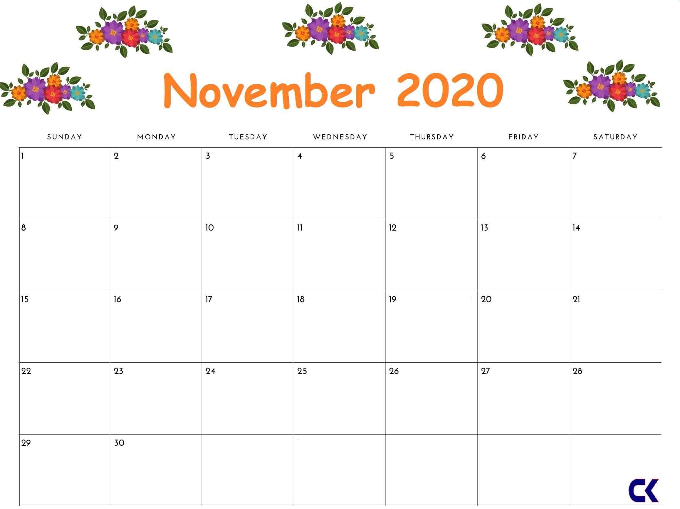 November 2020 Calendar Printable Floral