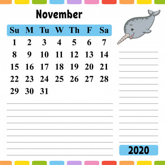 November 2020 Desk Calendar