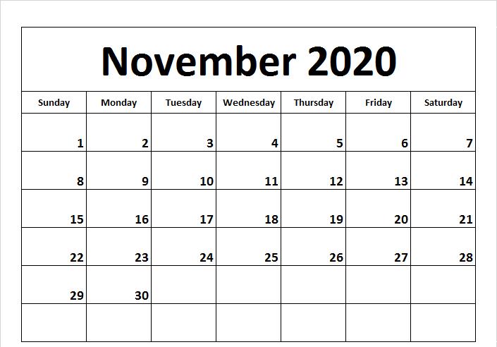 November 2020 Fillable Calendar