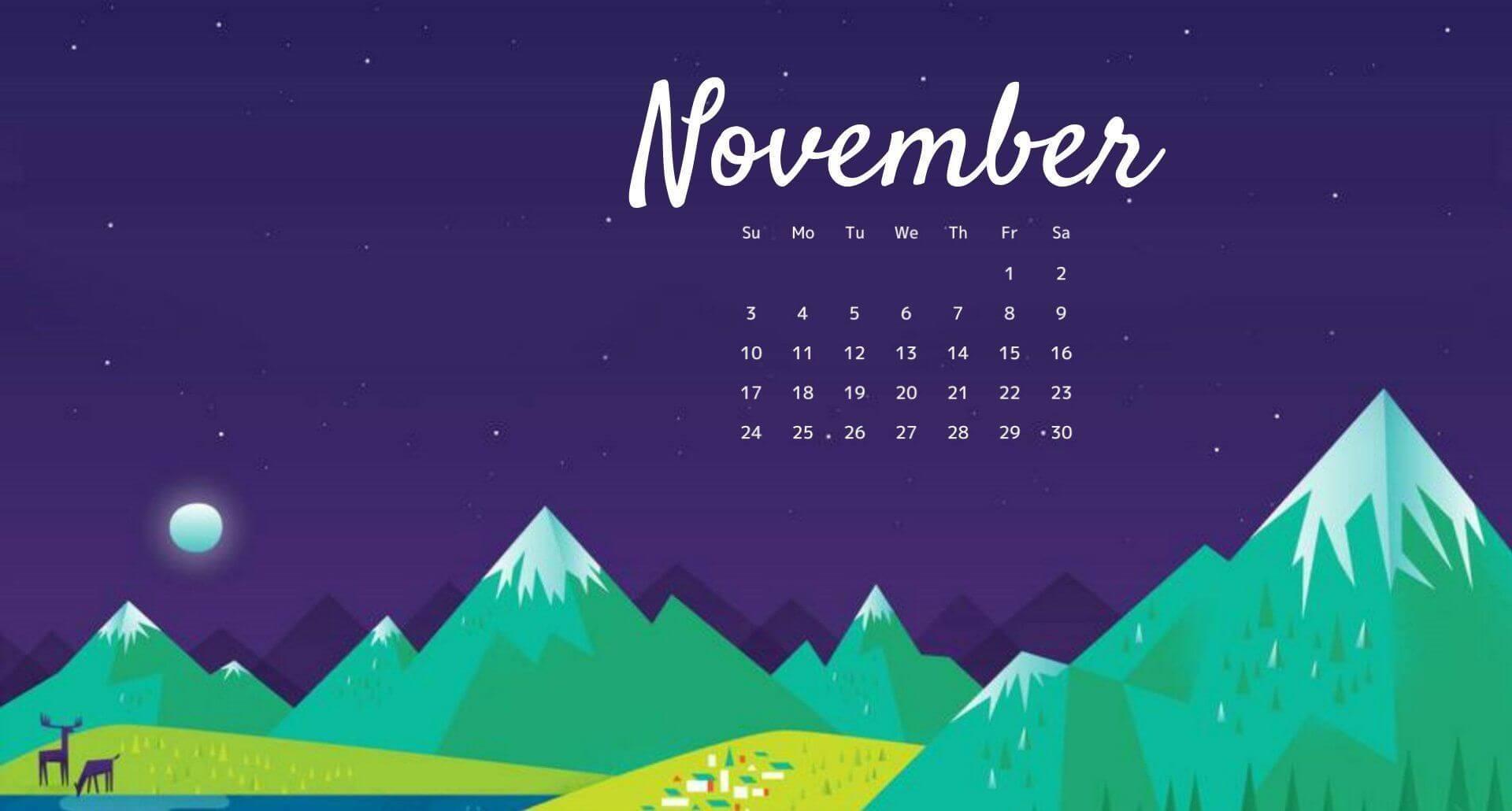 November Calendar 2020 Wallpaper