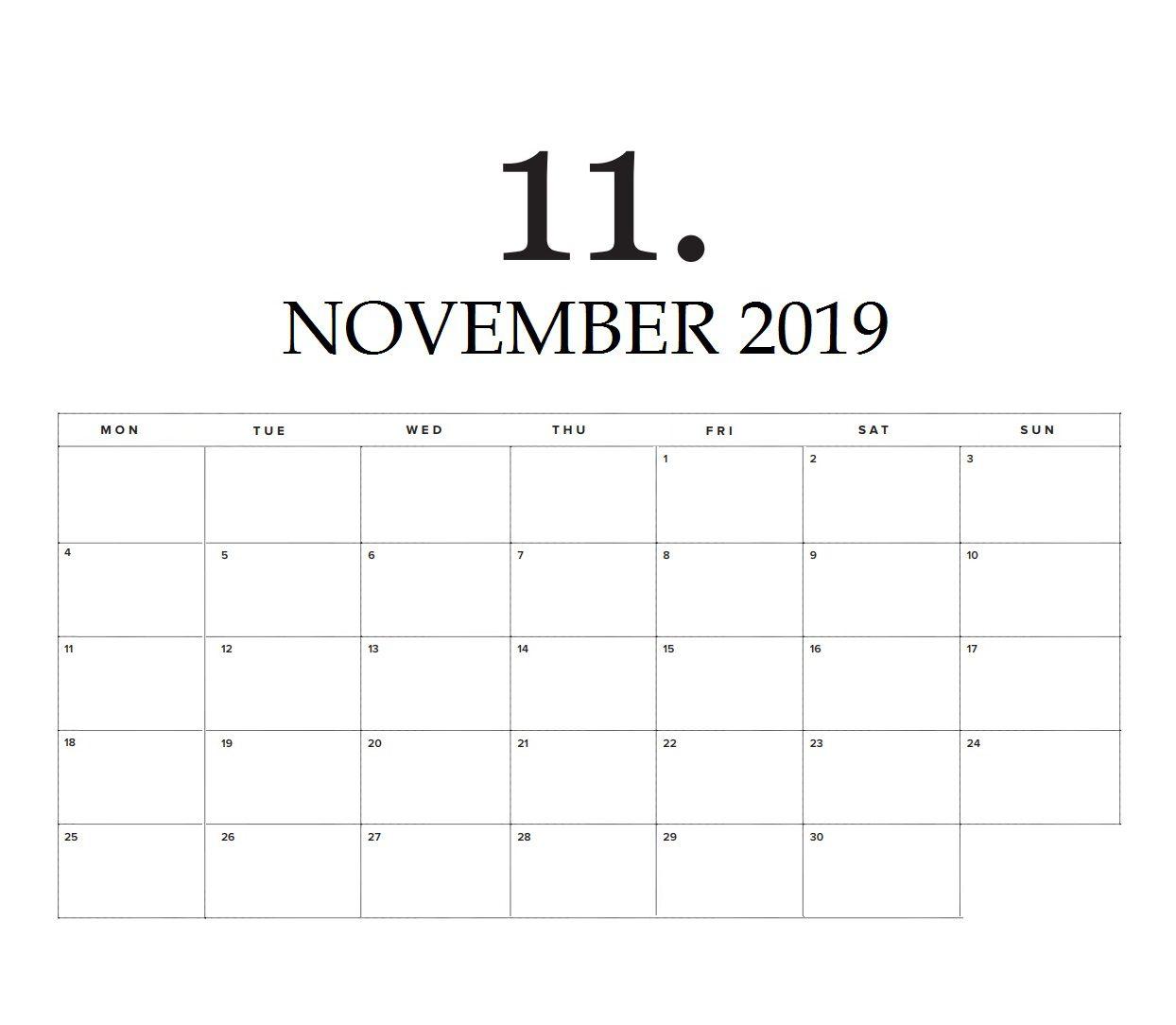 November Wall Calendar 2019 Printable