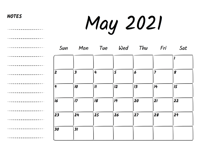 Online Monthly Blank Calendar May 2021