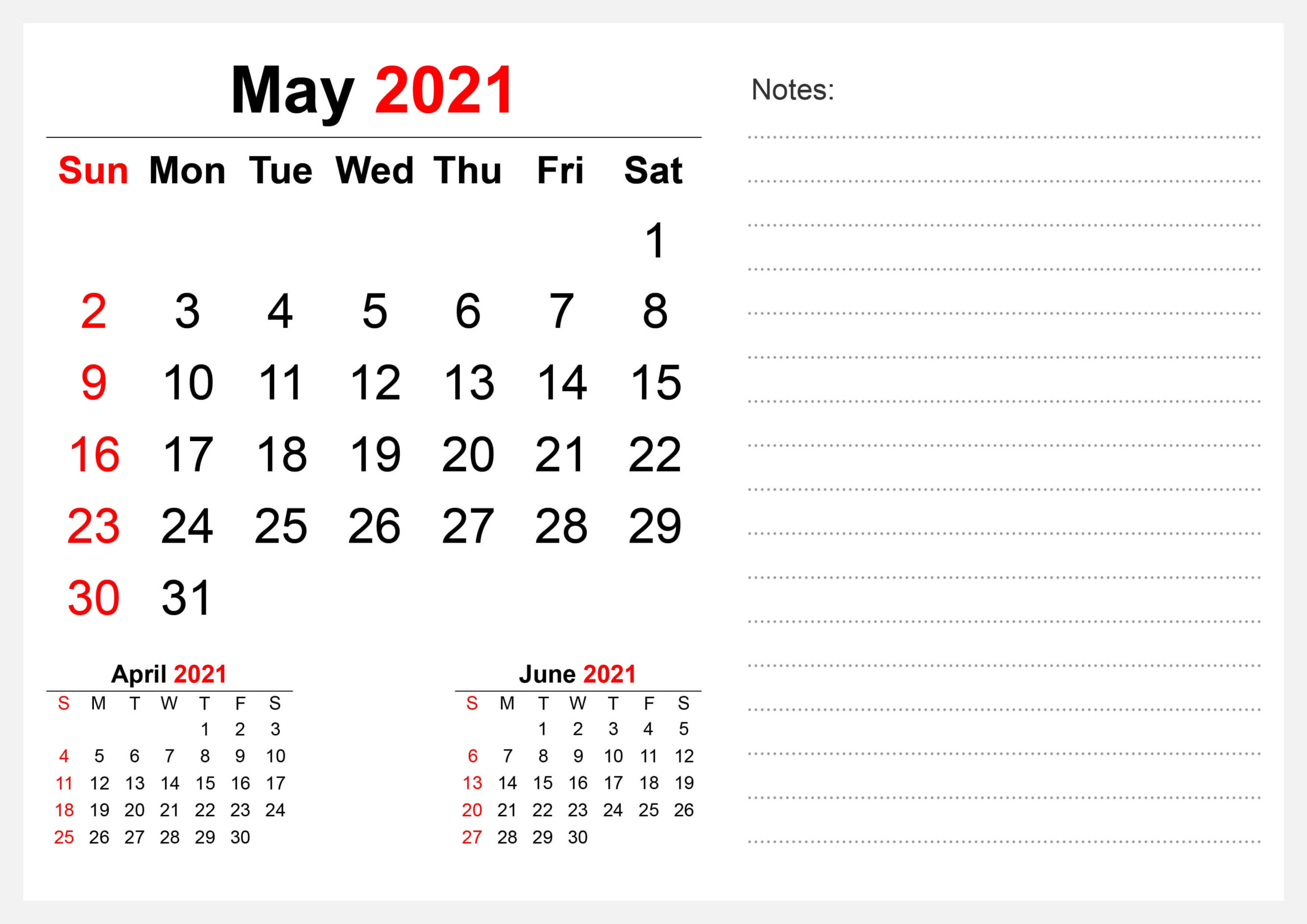 Print May 2021 Calendar Portrait with Notes