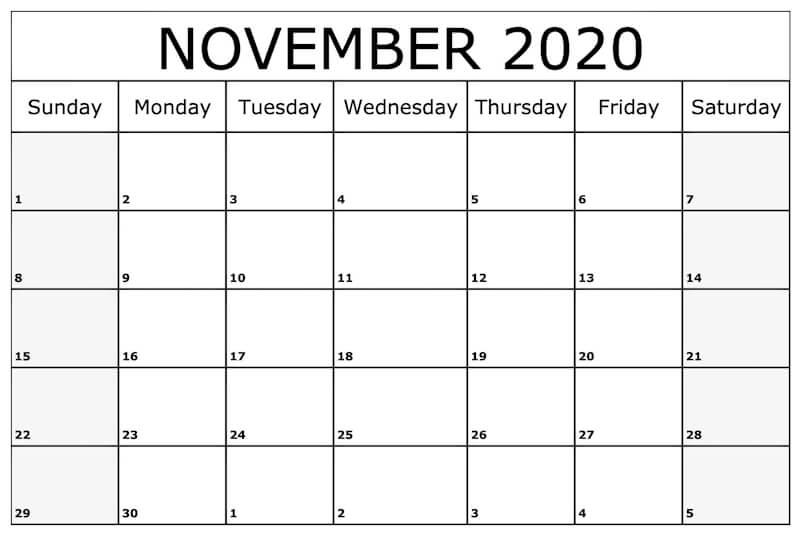 Printable November 2020 Editable Calendar