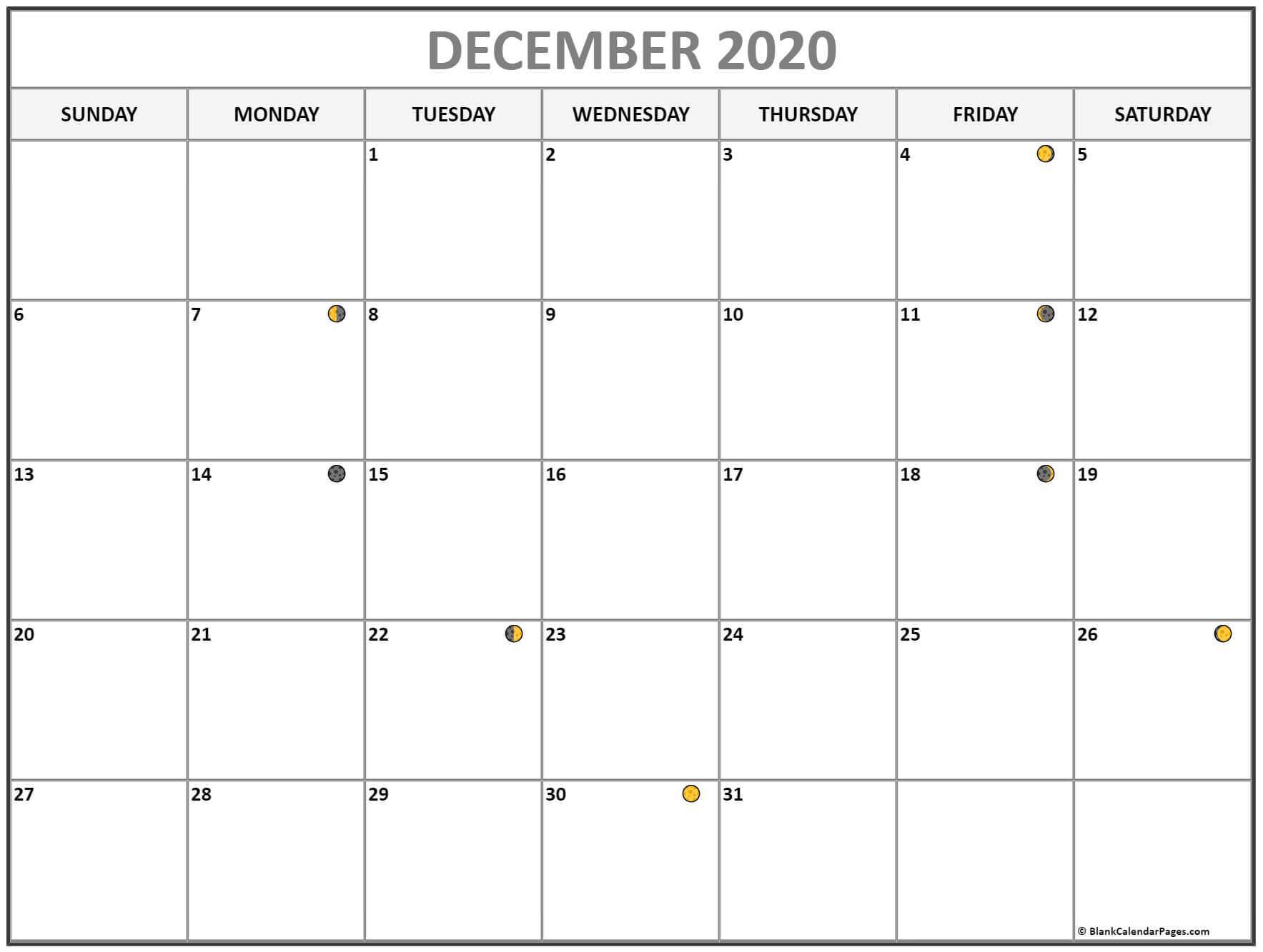 2020 December Moon Calendar