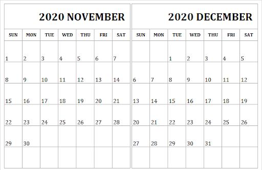 2020 November December Calendar Editable