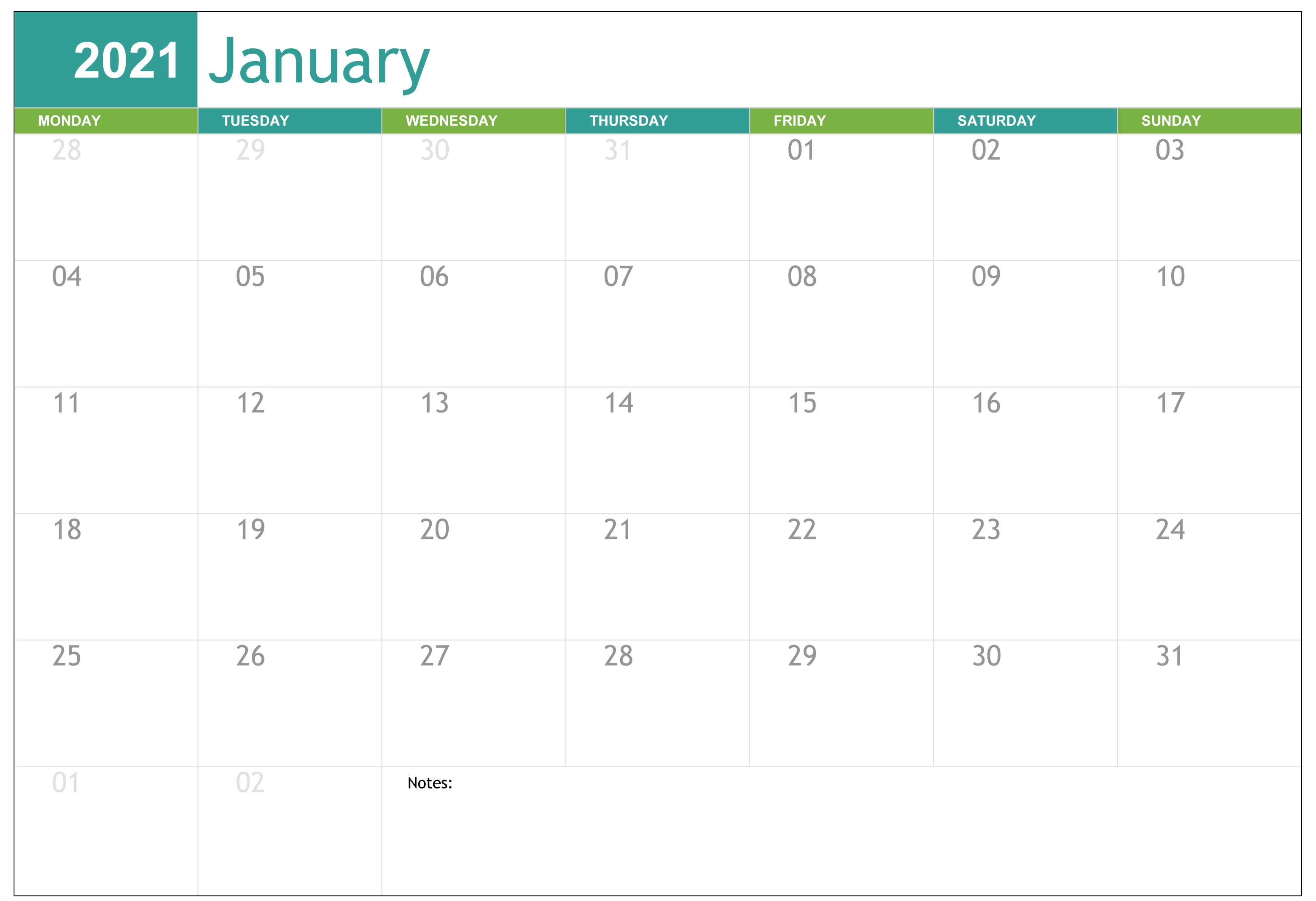 2021 January Editable Calendar
