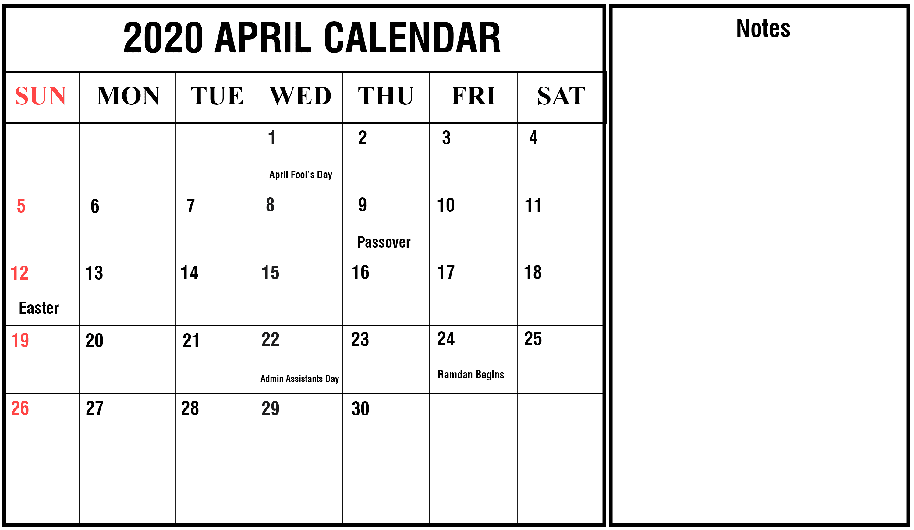 April 2020 Calendar Holidays Template