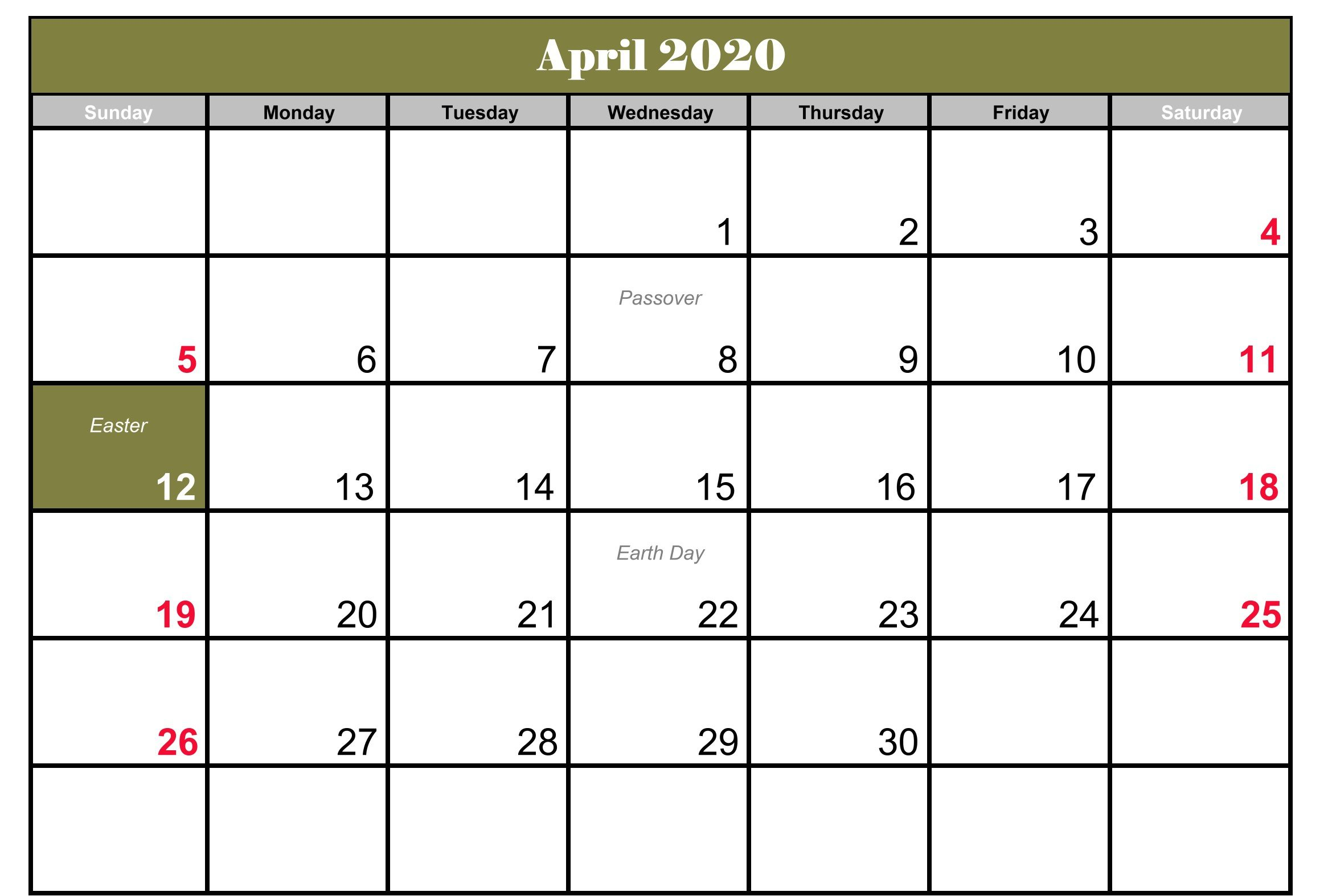 April 2020 Holidays Calendar Printable Template
