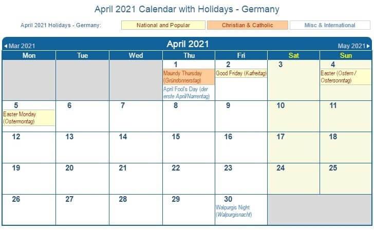 April 2021 Germany Holidays Calendar