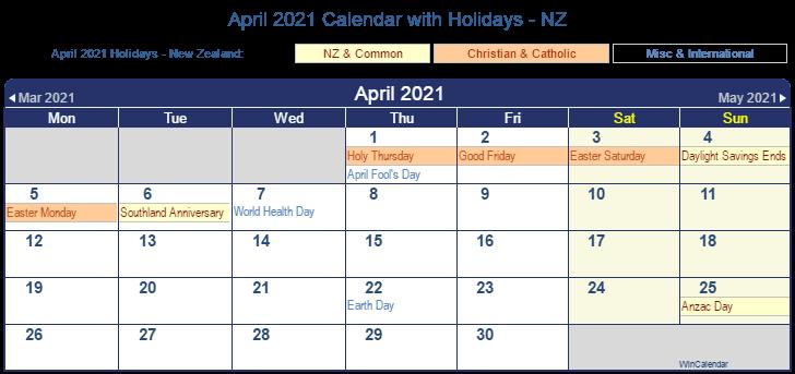 April 2021 New Zealand Holidays Calendar