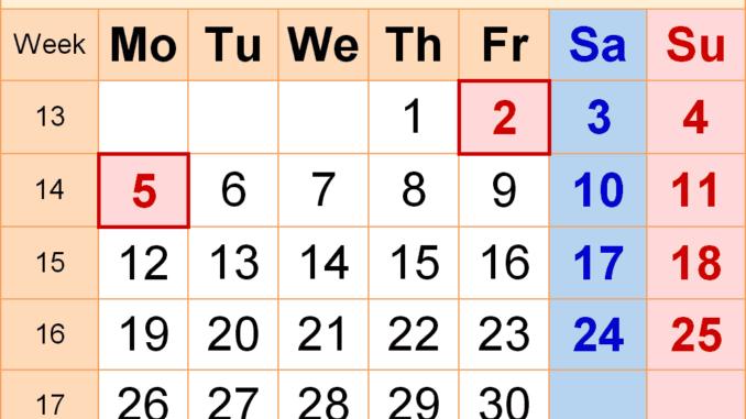 April 2021 UK Holidays Calendar