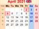 April 2021 UK Holidays Calendar