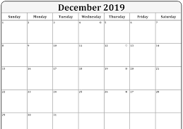 Blank Calendar for December 2019 Templates